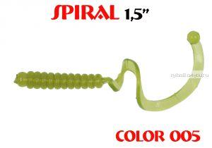 """Твистеры Aiko  Spiral 1.5"""" 25 мм / 0,62 гр / запах рыбы / цвет - 005 (упаковка 10 шт)"""