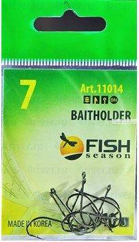 Крючки Fish Season Baitholder-Ring одинарные с ушком, покрытие BN ( упаковка 9 шт)(Артикул:11014)