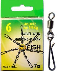 Вертлюг Fish Season с быстросъёмной застежкой Swiwel With hanging-b snap (упаковка 5 шт.)(Артикул:3017)