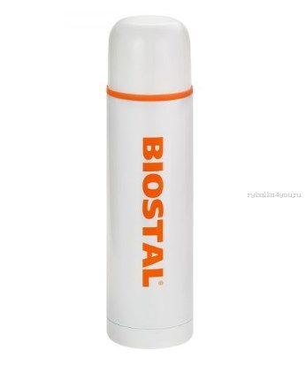Термос BIOSTAL NB1000C-W с двойной колбой цветной белый (узкое горло) 1 л