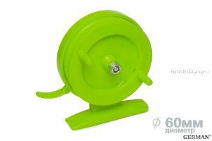 Зимняя катушка German инерционная 60 мм / Ядовито-зелёный