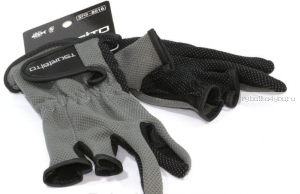 Перчатки рыболовные TSURIBITO SFG-8016, цвет серый (3 открытых пальца)